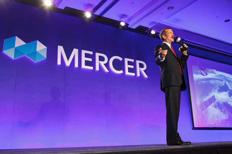Chris Hadfield speaks to audience members at the Mercer Conference. Photo by Victoria Event Photographer Geoff Howe